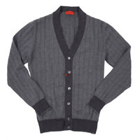 NWT $895 ISAIA Slim-Fit Wool and Cashmere Cardigan Sweater L Gray-Charcoal
