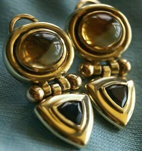 David Yurman *Retired & VINTAGE* 14k Gold Earrings with Citrine & Amethyst