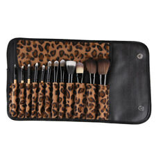 12 Wood Makeup Brush Set Kabuki Foundation Eyeshadow Kit + Leopard Print Bag