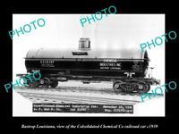 OLD 8x6 HISTORIC PHOTO OF BASTROP LOUISIANA THE CHEMICAL Co RAILROAD CAR 1939