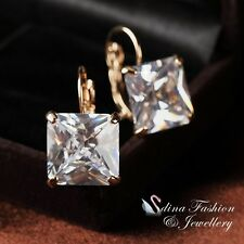 18k Yellow Gold Plated Simulated Diamond Clear Square Cut Hoop Earrings
