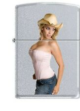 """Cowgirl With A Hat #1 "" ~ PinUp Girl ~ Satin Chrome ~ Zippo Lighter ~ HOT HOT!!"