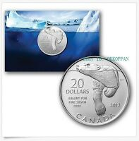 2012 $20 Dollars Commemorative .9999 Fine Silver Polar Bear coin in Capsule
