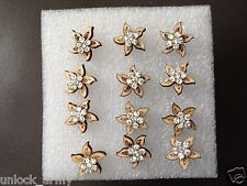 The Star Fish Swarovski Crystal Bling Handmade Stud Earrings Brown 6 Pairs A43