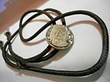 Vtg 1960's BOLO Tie Detailed Aztec Mayan Warrior on Abalone Handmade Brown Cord
