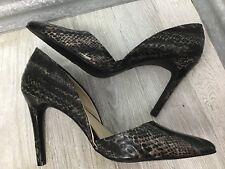 Mia Women Black Vegan Leather Snake print Slip on D'Orsay  Stiletto Pointed Sz 9