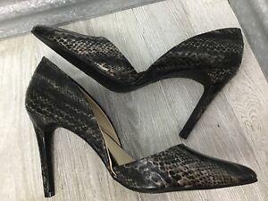 Mia Formal Black Vegan Snake D'Orsay Stiletto Dress Shoe Pointed Toe Size 9