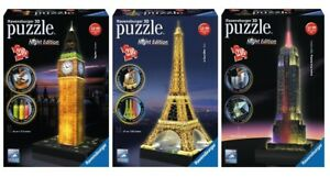 Ravensburger 3D Night Edition Jigsaw Puzzles | Big Ben Eiffel Tower Empire State