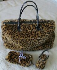Suzanne Somers Plush Leopard Tote Bag with Jewelry Carrier and Cell Phone Case