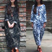 Mode Femme Coton Imprimé floral Casual en vrac Loose Longue Shirt Robe Midi Plus