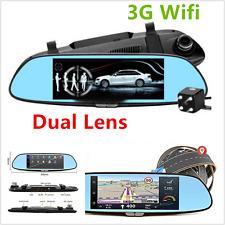 "7"" Wifi 3G 1080P Car Dual Lens Rearview mirror Camera Video Recorder Dash Cams"
