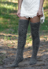 New Handmade High knee socks gray Thigh leg warmers Russian cashmere goat down