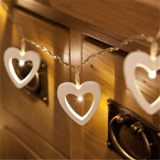 20 LED String Fairy Heart Lights Warm White Xmas Christmas Party Lamp Wooden