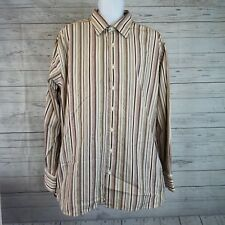 Gap Mens Shirt Sz XL Fitted Brown Striped Long Sleeve Button Front Cotton