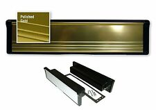 "12"" UPVC GOLD FRONT DOOR LETTER BOX LETTER PLATE WITH BRUSHES  D2"
