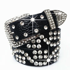 Ladies Faux Leather Belt Bling Rhinestone Crystal Cowgirl Charm Waistband Red