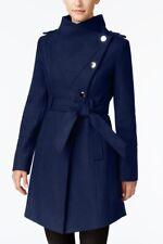 Guess Women's Asymmetrical Wool Belted Burgundy Wrap Coat, Size EU L / UK 14