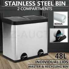 48L Stainless Steel Pedal Rubbish Bin 2 Compartment Kitchen Recycling Waste Bins