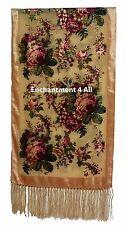 Elegant Camel Vintage Floral 100% Silk Burnout Velvet Oblong Shawl Wrap Scarf