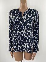 NEXT Black White & Blue Trim Chiffon Boxy Leopard Print Blouse UK 10