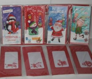 Pack of 4 Assorted Christmas Money Wallets Gift Card & Envelope Xmas Santa