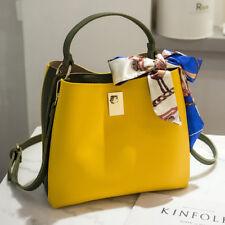Bolso de mujer cubo asas bandolera colorida amarillo grande como piel 2392
