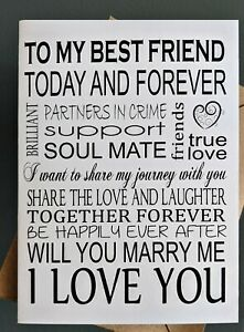 Will you  MARRY ME card and envelope - My Best Friend - Folded