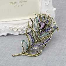 Multi-color Rhinestone Brooch Pins Peacock Feather Jewelry Vintage Golden Gifts#