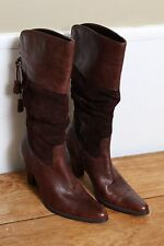 EUC ana Western Walking Suede Slouch Leather Brown Heel Boots Size 7.5 - 8