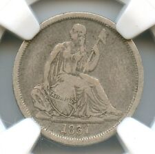 1837 No Stars, Large Date Seated Liberty Dime, NGC VF 25