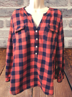 Old Navy Women's Blouse Size L Long Sleeve Plaid Pullover Top