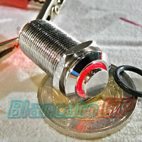 INTERRUTTORE SPST 12mm BISTABILE LED DC ROSSO ottone cromato illuminato unipolar