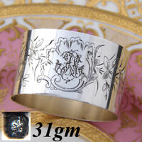 Antique French Sterling Silver Napkin Ring, Flowers & Foliage, Bird & Insect
