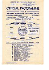 Aldershot v Crystal Palace Reserves Programme 11.10.1952 Football Combination