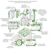 Personalised Luxury Green Herb Garden Foliage Wedding Invitations (packs of 10)