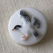 Seagull Or Herring Gull In Flight On Vintage White Glass Button 18mm