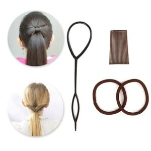 2 IN 1 BOW BUN/PONY FLIP STARTER KIT Ponytail Hair Styling 50's Vintage Style UK