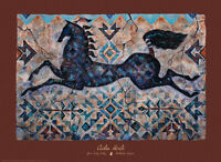 Winters Pony Art Print by Cecilia Henle - Horse Blue Native American