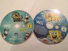 2 NINTENDO WII GIOCHI RAVING RABBIDS PARTY COLLECTION + SPONGEBOB NAUTICA Bash