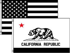 3x5 3'x5' Wholesale Combo Black White Usa & State Of California 2 Flags Flag