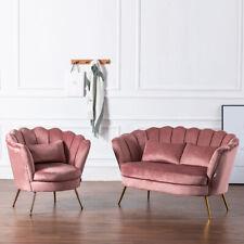 Chesterfield Velvet Armchair/Sofa/Ottoman Footstool Thumb Settee Couch Chair Set