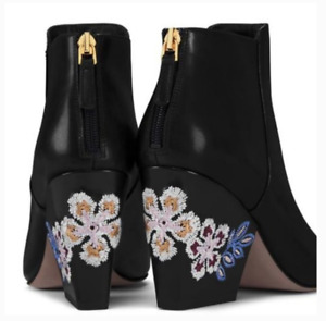 Tory Burch NEW Embroidered Floral 55MM Black Leather Classic Bootie 8.5M $425