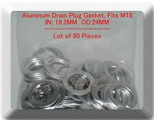 LOT 50 Aluminum Oil Drain Plug Gasket ID:18.2 mm OD:24 mm Fits: Chrysler Volvo &