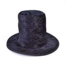Kids Black Velour Wonker Hatter Fancy Dress Accessory Velvet Top Hat Victorian