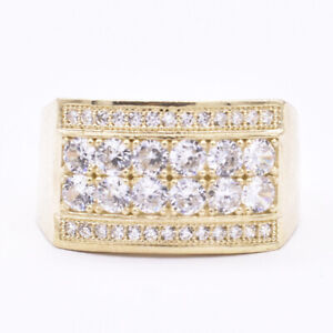 Men's Full Oval Rectangle CZ Set Ring Real Solid 10K Yellow Gold Size 10