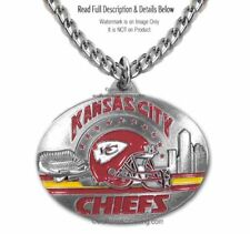 KANSAS CITY CHIEFS STAINLESS STEEL CHAIN NECKLACE - NFL FOOTBALL - FREE SHIP #1