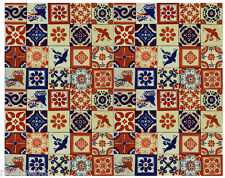 25 PCS MEXICAN TALAVERA  TILES 4x4 TERRACOTTA & BLUE MIX FOLK ART