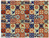 100 PCS MEXICAN TALAVERA  TILES 4x4 TERRACOTTA & BLUE MIX FOLK ART