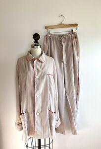 Sulka Vintage Mens Pajamas Pants Shirt Top like Dressing Gown Lounge Robe Silk
