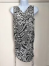 Womens size 12 sleeveless white and black patterned dress Dorothy Perkins